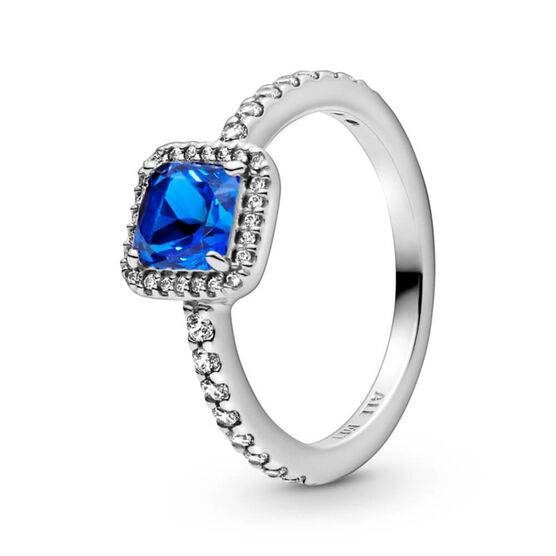 Pandora Blue Square Sparkle Halo Crystal & CZ Ring