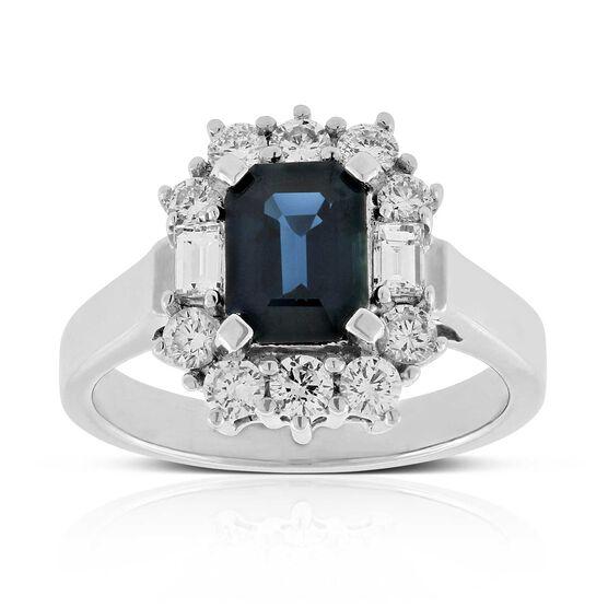 Sapphire & Halo Diamond Ring 14K