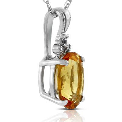 Citrine & Diamond Pendant 14K