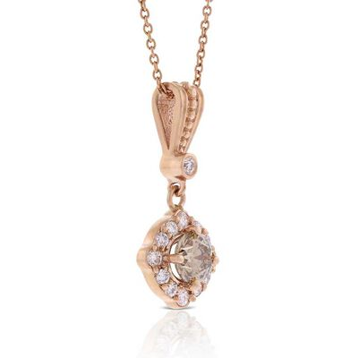 Rose Gold Brown & White Diamond Pendant 14K