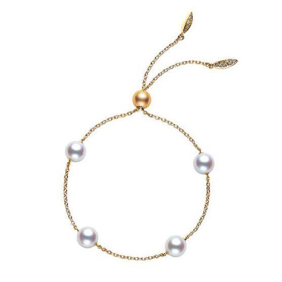 Mikimoto Akoya Cultured Pearl & Diamond Bolo Bracelet 18K