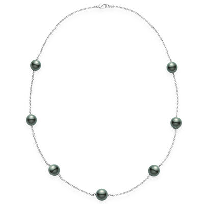 Mikimoto Black South Sea Cultured Pearl Station Necklace 18K