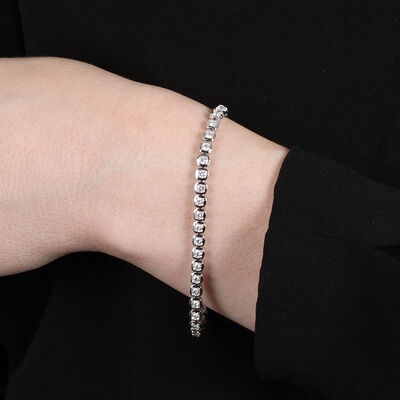 Cushion Shaped Link Diamond Bracelet 14K, 3 ctw.