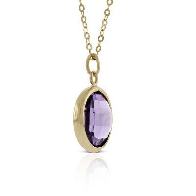 Round Bezel Set Amethyst Necklace 14K
