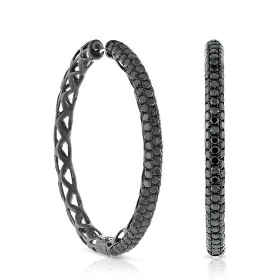 Black Diamond Hoop Earrings 14K