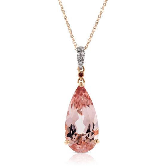 Rose Gold Morganite, Garnet & Diamond Drop Pendant 14K