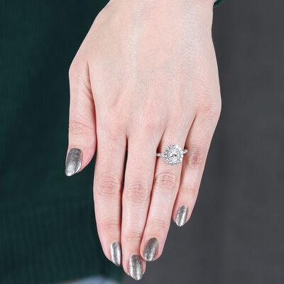 Double Halo Oval Diamond Ring 14K