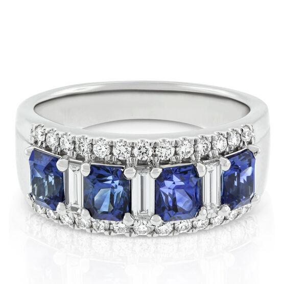 Radiant Cut Sapphire & Diamond Band 14K