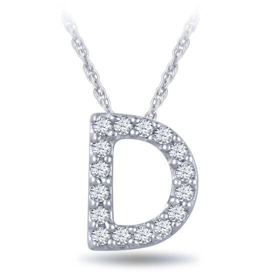 Diamond Initial Pendant 14K Letter 'D'