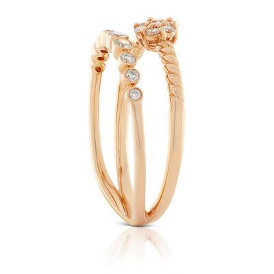 Rose Gold Diamond Cluster Split Band Ring 14K