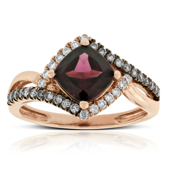 Rose Gold Rhodolite Garnet & Diamond Ring 14K