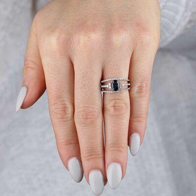 Tri-Band Sapphire & Diamond Ring 14K