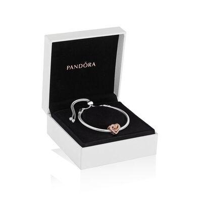 Pandora Sparkling CZ Entwined Hearts Bracelet Gift Set