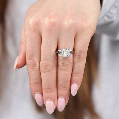 Emerald Cut Diamond Ring in Platinum, 3.04 Carat Center