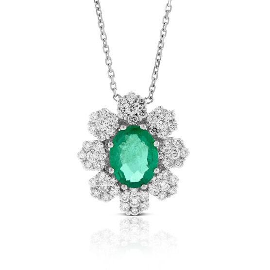 Emerald  & Diamond Halo Necklace 14K