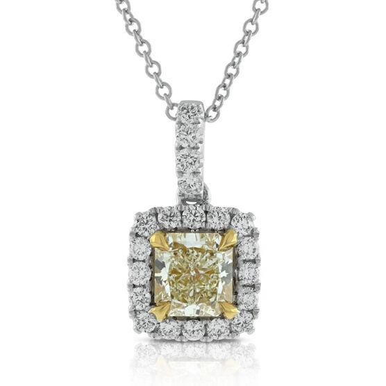 Yellow & White Diamond Pendant 18K