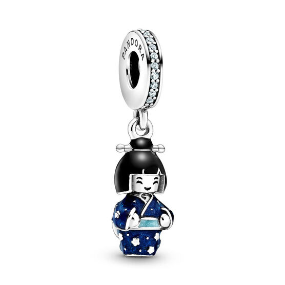 Pandora Japanese Doll in Blue Kimono Enamel & Crystal Dangle Charm