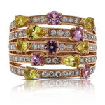 Rose Gold Multi-Colored Sapphire & Diamond Ring 14K