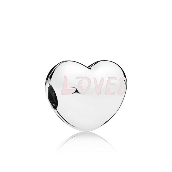 Pandora Loved Heart Clip, Powder Pink Enamel
