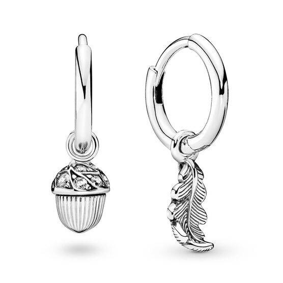 Pandora Wonderland Acorn & Leaf Hoop Earrings