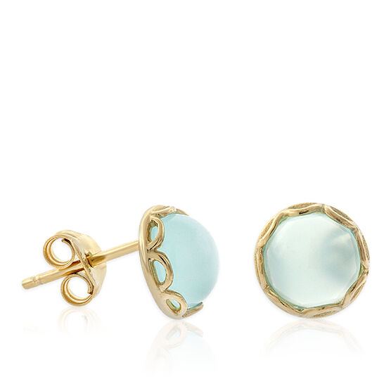 Lisa Bridge Sea Foam Chalcedony Button Earrings 14K