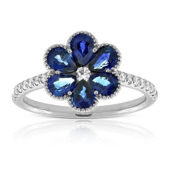 Sapphire & Diamond Flower Ring 14K