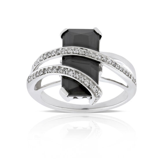Rectangular Onyx & Diamond Ring 14K
