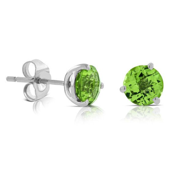 Checkered Peridot Earrings 14K, 6mm