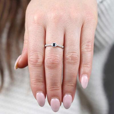 Square Sapphire & Diamond Ring 14K