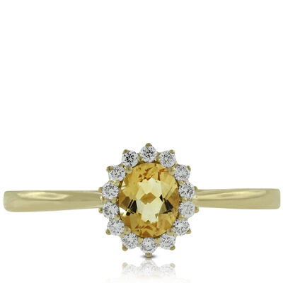 Citrine Halo Diamond Ring 14K