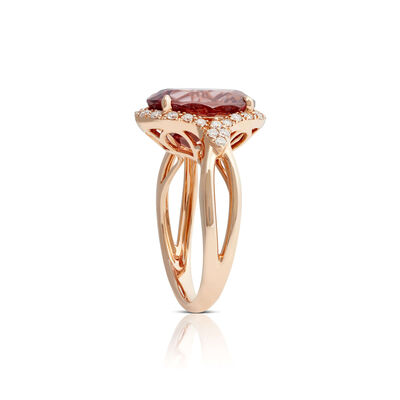 Rose Gold Oval Rose Zircon & Diamond Halo Ring 14K