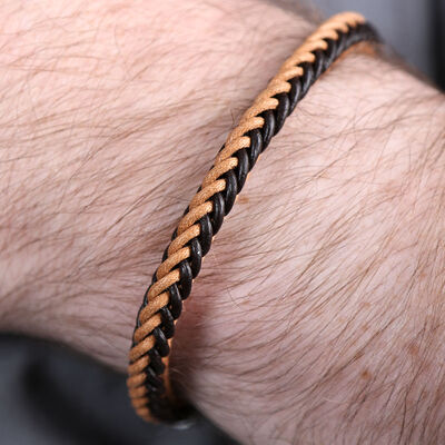 Black & Brown Braided Leather Bracelet