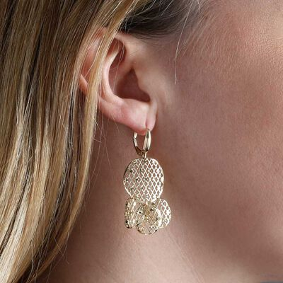 Toscano Mesh Circle Drop Earrings 14K