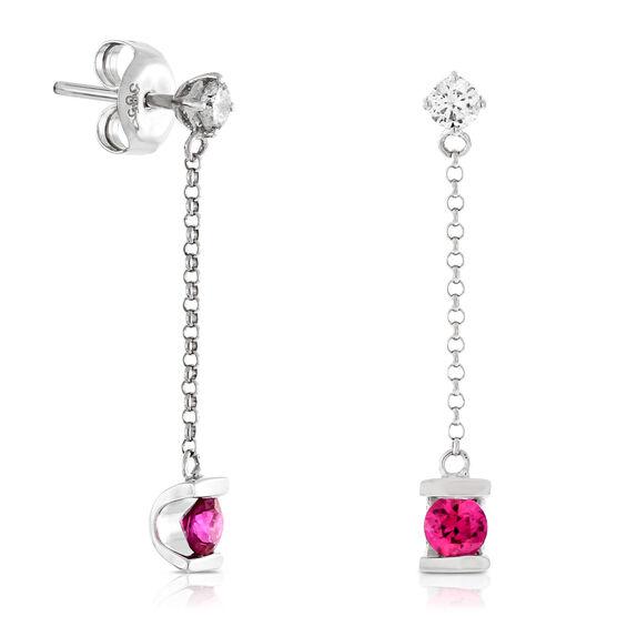 Ruby & Diamond Dangle Earrings 14K