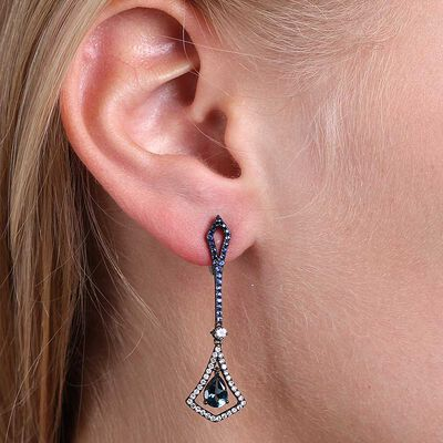 Blue Topaz, Sapphire & Diamond Earrings 14K