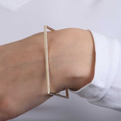 Square Diamond Cut Wire Bangle 14K