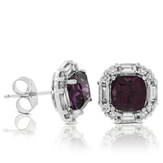 Purple Garnet & Diamond Stud Earrings 14K
