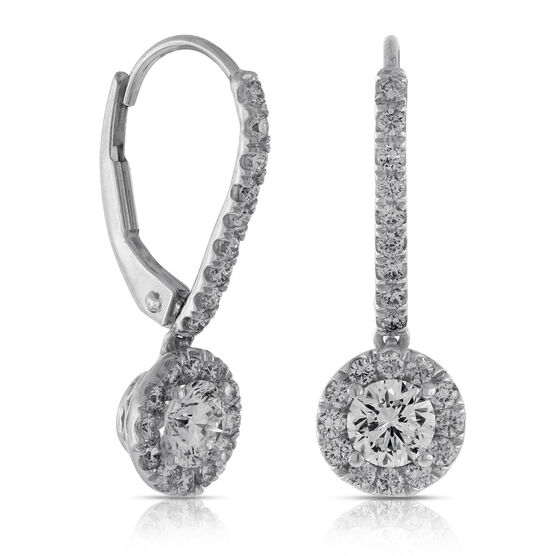 Signature Forevermark Diamond Halo Dangle Earrings 18K