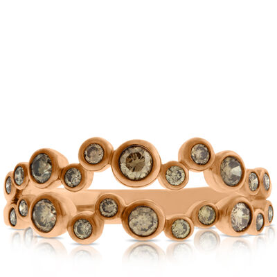 Rose Gold Brown Diamond Bezel Set Band 14K