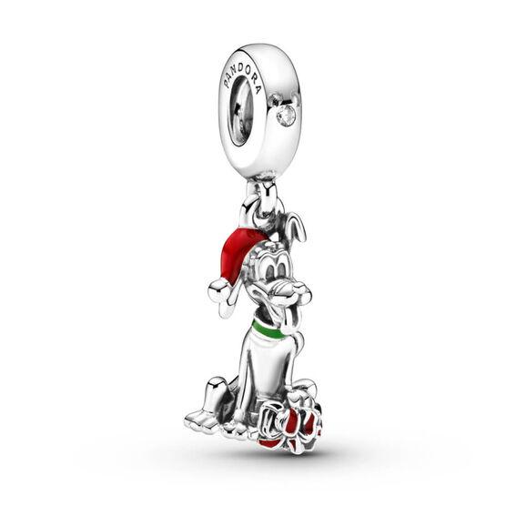 Pandora Disney Pluto Christmas Gift Enamel & CZ Charm