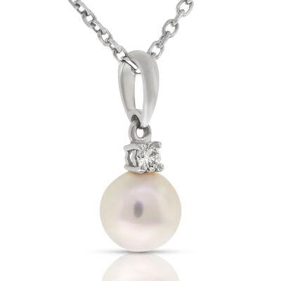 Mikimoto Akoya Cultured Pearl & Diamond Pendant, 7mm, AA, 18K