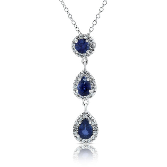 Sapphire & Diamond 3-Stone Drop Pendant 14K