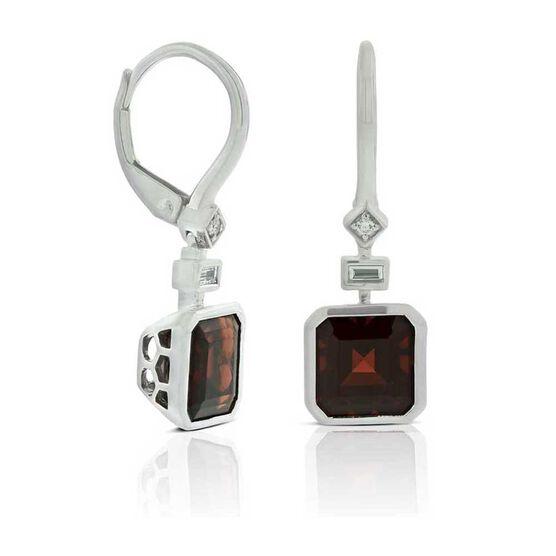 Square Garnet & Diamond Earrings 14K
