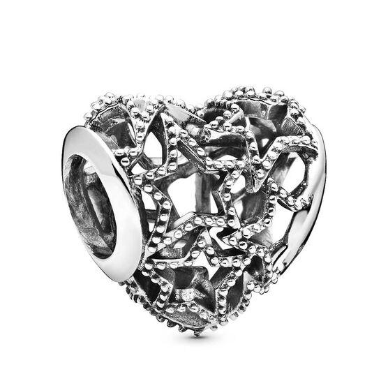 Pandora Openwork Heart & Beaded Stars Charm