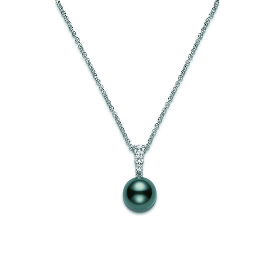 Mikimoto Black South Sea Cultured Pearl & Diamond Pendant, 10mm, A+, 18K