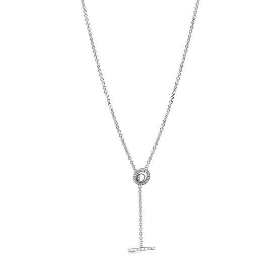 Pandora Pavé Circle Logo T-bar Heart CZ Necklace