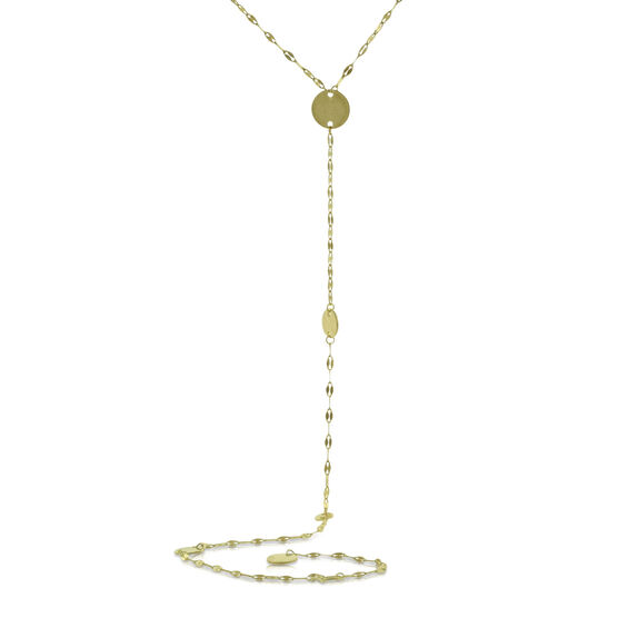 Circle Disc Lariat Necklace 14K