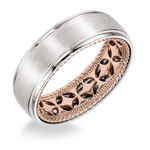 ArtCarved Rose Inside White Outside Gold Band 14K
