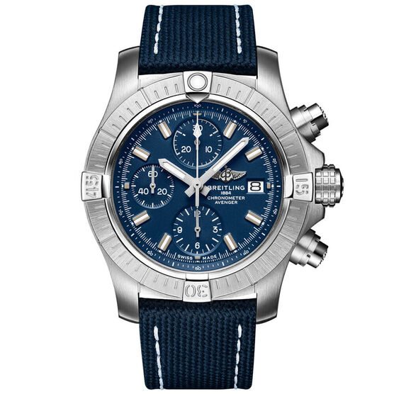 Breitling Avenger Chronograph 43 Blue Leather Watch, 43mm