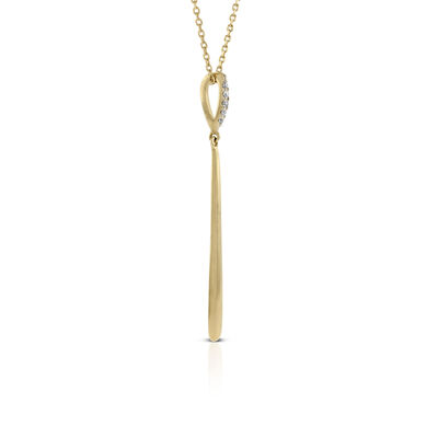 Diamond Bar Drop Necklace 14K